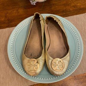 Gold Tory Burch Minnie Travel Ballet Flats